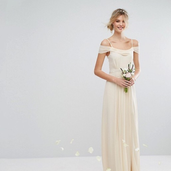 4187387684 ASOS TFNC Off the Shoulder Bridesmaid Maxi Dress